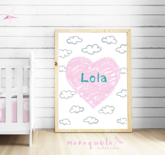 CUSTOM light PINK HEART baby illustration with personalized name.Custom Newborn gift.Wall Nursery room,Hearts Art Boy Babies,bedroom kids