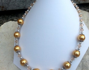Yellow glass beads necklace retro chic