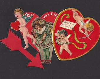 Vintage / German Scrap / Valentine's Day / Be My Valentine / With Love to my Valentine / Die-Cut Arrow and Cupid