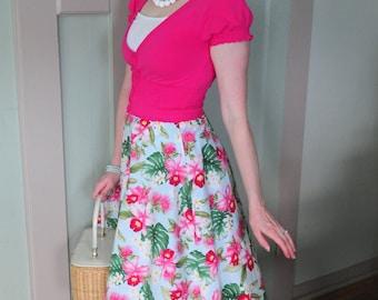 Hawaiian Skirt, Skirt, Circle Skirt, Hawaii, Orchid, Flowers, Floral Print, Retro, Rockabilly, Tiki, Pin up, Blue, Vintage style, Easter