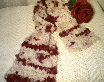 Crocheted Scarf Cashmere Wine Ivory ArtYarn
