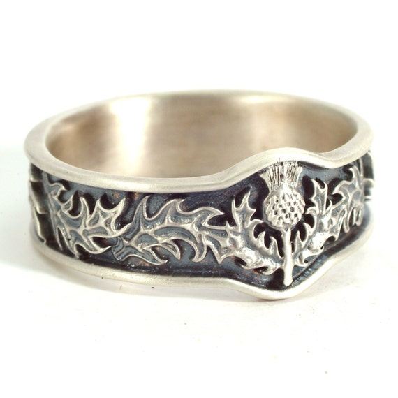Scottish Thistle Jewelry, 925 Sterling Silver Thistle Ring, Unique Rings for Her, Botanical Jewelry, Handcrafted Rings, Custom Size CR5043