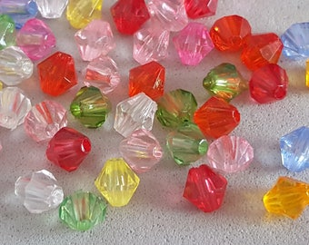 100 mixed 6 mm acrylic faceted bicone beads
