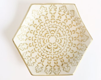 CLEARANCE - White and gold jewelry dish, trinket bowl, treasures dish, gifts for her, mothers day, white and gold bowl, hexagon, polyemer