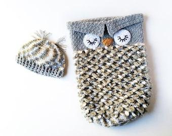 Owl Cocoon - Crochet Cocoon - Crochet Owl Cocoon - Baby Cocoon - Baby Yarn Cocoon - Owl Photo Prop - Newborn Photo Prop - Newborn Sack