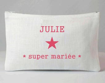 """""""Super bride"""" - bride gift - personalized clutch - personalized gift - wedding gift bachelorette party gift"""