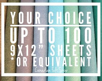 55-100 Wool Felt Sheets, Wool Blend Felt, Choose Your Own Colours, Wool Fabric, Nonwoven Fabric, Merino Wool, 9x12 Sheets, 12x18 Sheets