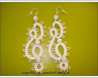 Earrings white/jewelry earrings/white/gift women/tatted earrings / / wedding/ceremony/handmade tatting lace earrings