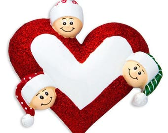 Heart with Faces 3 Personalized Christmas Ornament