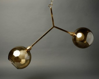 Abstract Globe Chandelier - Brass and Glass - UL listed