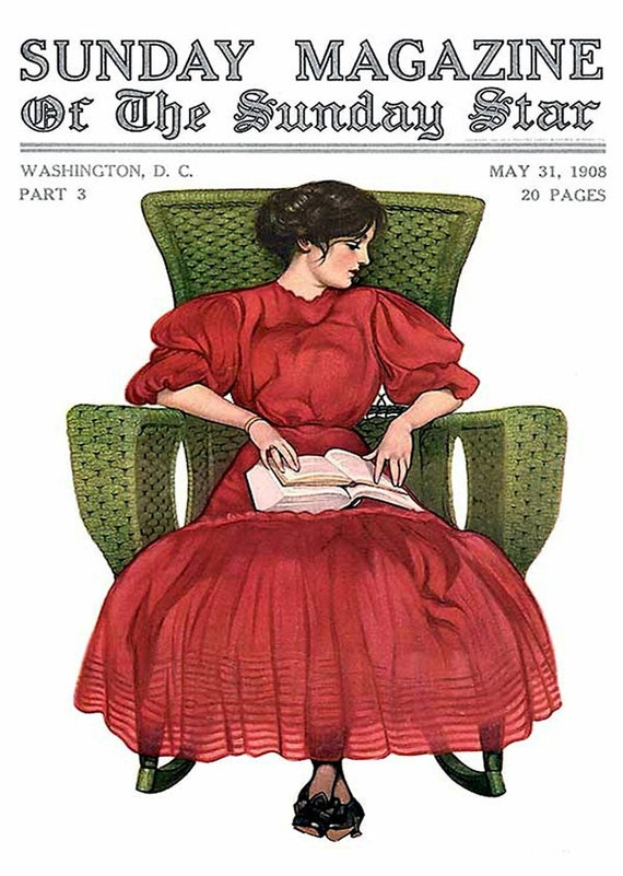 """Red Dress Green Chair Coles Phillips Fadeaway Lady 5""""x7"""" Greeting Card + Envelope Sunday Magazine Cover May 31, 1908 Forgotten Art Card"""