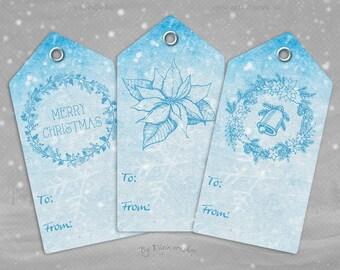 "Digital Christmas Gift Tags ""Blue Christmas Tags"" clip art clipart instant download printable holiday xmas blue gift tags hang tags"