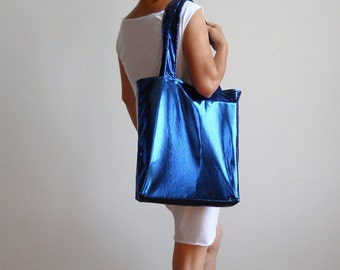 Metallic Blue Tote Bag - Convenience Tote Bag - Books Bag - Magazines Bag - Laptop Tote Bag - New York Tote Bag