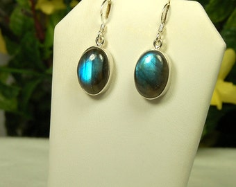 Labradorite Earrings, Blue Flash, Gold Tones, Spectrolite, Sterling Silver, Oval Labradorite, Labradorite Dangles, Blue Labradorite
