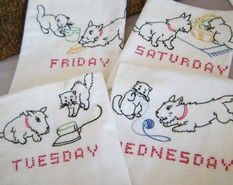 Scotty Dog and Kitty Vintage Embroidered Tea Towels - FREE SHIPPING