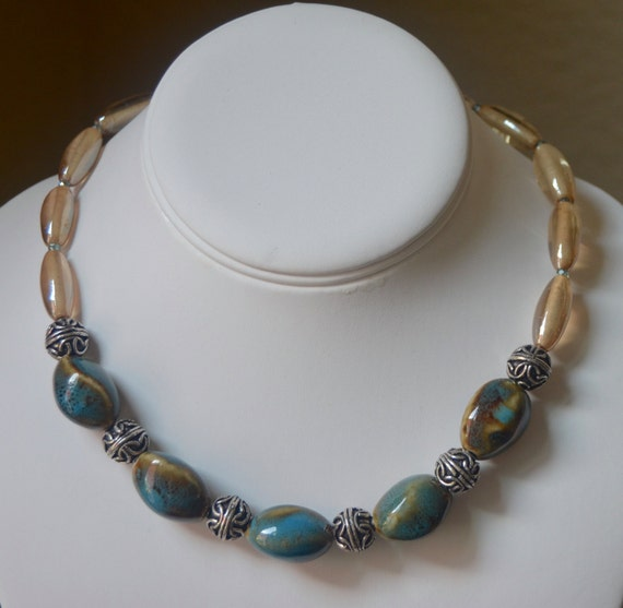"16"" Teal and Gold Collage Quartz Necklace"