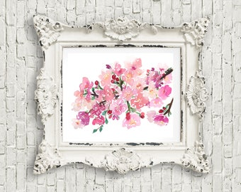 Cherry blossoms watercolor original painting, cherry blossoms floral art painting, watercolor print, watercolor flowers, pink floral art