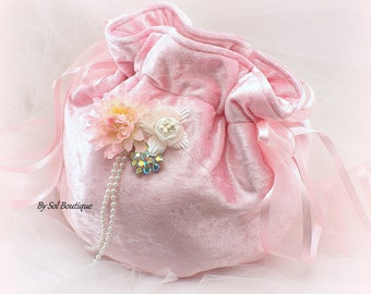 Flower Girl Basket,Pink,Blush,Girl Drawstring Bag,Wedding Basket,Velour Basket,Girl Basket,Girl Purse, Girl Pouch, Elegant, Gatsby