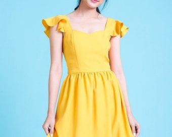 OLIVIA - Mustard Yellow Dress Ruffle Strap Party Dress Swing Dance Vintage Inspired Dress Tea Dress BridesmId Dress Vintage Sundress Summer