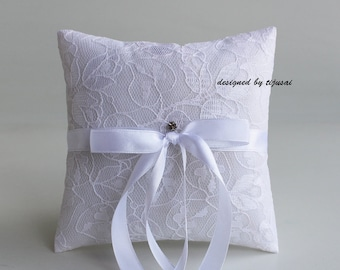 Vintage style, white Wedding pillow, Ring bearer, rings cushion, Wedding decoration-ring bearer pillow, wedding rings pillow, wedding pillow
