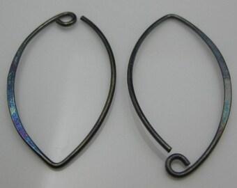 Oxidized Sterling Silver Earwire -20 Ga Marquise shape 35mm long-Earring Findings, Oxidized Findings, Jewelry Making -1 pair-SKU: 203009-OX