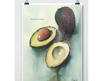 Kitchen Wall Art Avocado Decor, Watercolor Avocado Art Print, Modern Kitchen Art, Kitchen Print Blue Green, 3 Sizes - 8x10 to 24x36 Poster