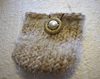 Golden Oatmeal and  white  Mini  Knit Gadget Bag