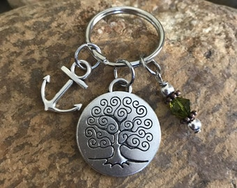 Anchor Keychain with tree of life and olive green crystal - I refuse to sink gift for him or her - beach accessories