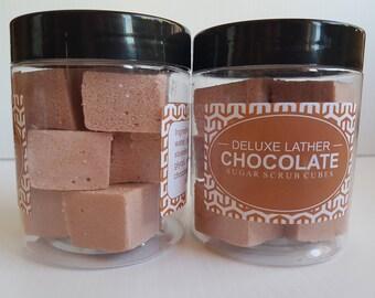 Chocolate sugar scrub cubes. Exfoliating scrub. Vegan scrub. Gift for her.