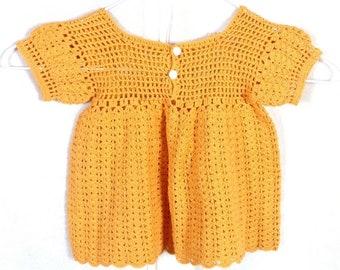 vtg 50s 60s marigold Sheer Knit Crochet Dress Baby Toddler 12 Mos.