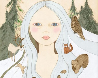 Forest girl,  illustration art print of original drawing
