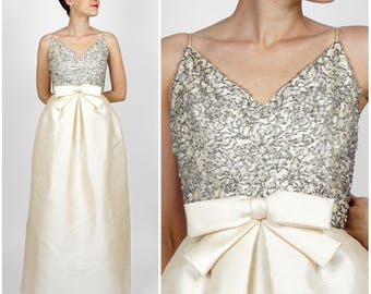 Gorgeous Vintage 60s Ivory White Silk Floor-Length Maxi Dress with Silver Beaded Bodice and Bow by Malcolm Starr | XXS/XS