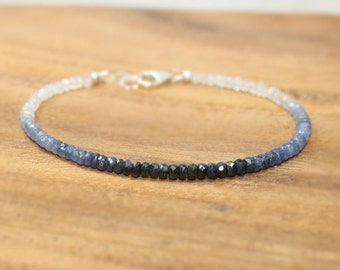Blue Sapphire Ombre Bracelet, Moonstone, Sapphire Jewelry, September Birthstone, Something Blue, Gemstone Bracelet