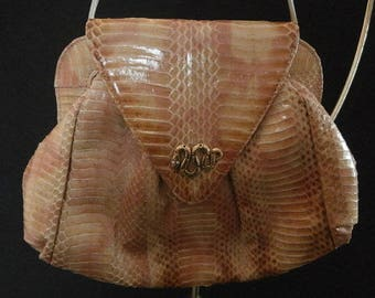 Womens Purse : Leather ~ Rose color ~ Faux Snake Skin/Snake with Rhinestone eye's Women's Shoulder Bag / Cross-body Vintage Purse