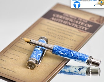 Handmade Fountain Pen Top of the Line Blue and White Swirled Alumilite German Nib Certificate of Authenticity High End Writing Instrument