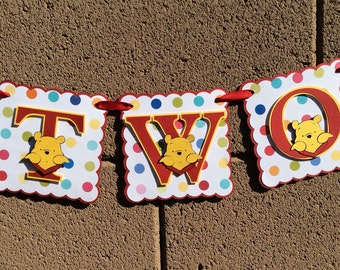 Winnie the Pooh. Happy Birthday Banner.  TWO . Red and yellow. Photo prop.
