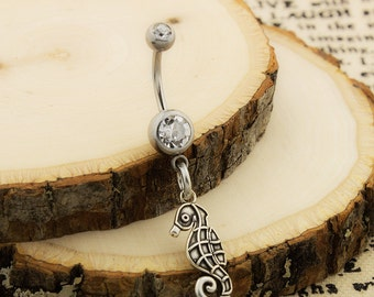 Stainless Steel belly button ring Sterling Silver Seahorse charm CZ Navel C136