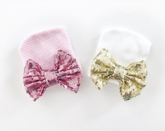Baby Girl Newborn Hat Newborn Bow Hat Newborn Photo Prop Newborn Hospital Hat Baby Girl Hat Baby Shower Gift Sparkle Bow Hat