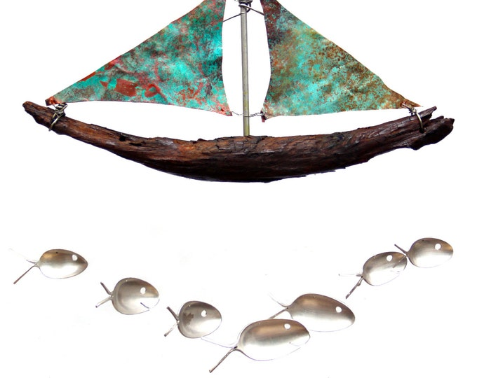 Charming Copper Birthday Gift, Handmade Natural Driftwood Sailboat, Rustic Nautical  wind chime, Antique Silver Spoon Fish, Unique gift him