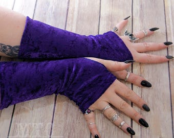 Gothic stretch crushed Velvet arm warmers fingerless gloves with thumb holes MTcoffinz  MTC