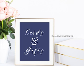 Cards and Gifts - Gift Table Sign - Gift Table Printable - Gift Table- Wedding Decor - Wedding Sign - Party Decor - Gifts - Navy and White
