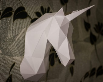 unicorn, 3D papercraft, tamplet, GIFT, diamond tamplate