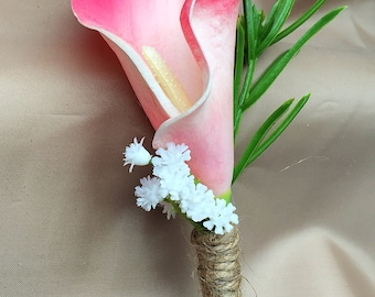 Real Touch Calla Lily Buttonholes Boutonnieres - dark pink - wedding Groom Bestman Ushers