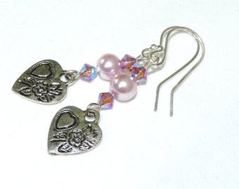 Heart Charm Silver Earrings, Pink Swarovski Crystals, Swarovski Glass Pearls, Silver Plated, Drop Style, Bridesmaid, Prom, Flower Girl