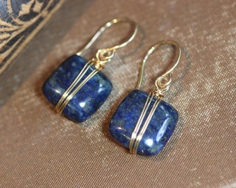 Lapis Earrings Gold Wire Wrapped Blue Gemstone Earrings Gold and Blue Earrings