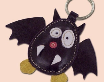 Cute little purple bat leather animal keychain