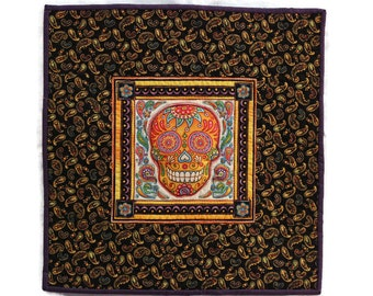 Sugar Skull Quilt, Mexican Quilt, Day of the Dead Quilt, Mexican Decor, Muertos Decoration, Mexican Holiday Decor, Skull Wall Quilt,