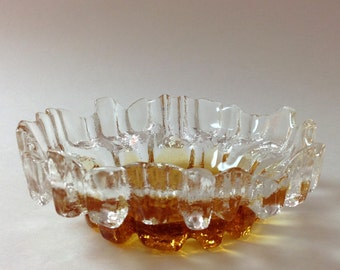 Vintage Muurla Finland Melting Ice Votive, Candle Holder, Amber, Clear Finnish Scandinavian Art Glass