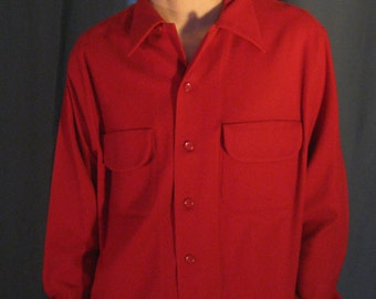 Vintage Mens 1950s Ski Trail Wool Heavy Shirt / 50s Red 100% Wool Shirt by Congress Size Large