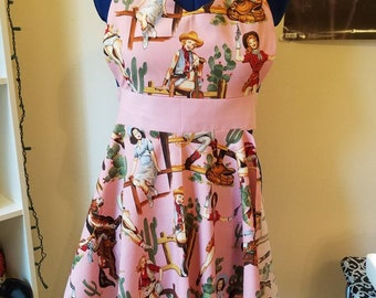 READY-TO-SHIP Sweetheart Apron: Pin Up Cowgirls